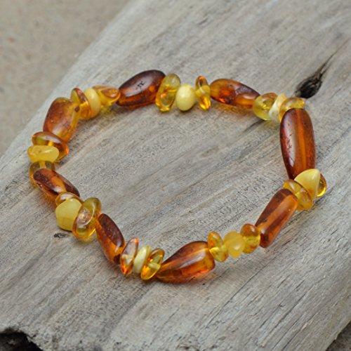 Handmade Genuine Amber Bracelet for Women – On rubber