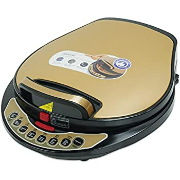 Liven A434 Foldaway detachable 180 degrees Electric Griddle Skillet, Washable Double Baking Pan Non-stick, 1300W, Black and Gold