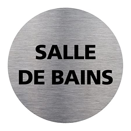 Diam/ètre 83 mm Adh/ésif Autocollant Sticker aspect Aluminium Bross/é Plaque de porte Tirez