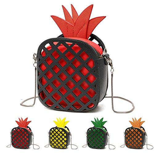 KOROWA Sacchetti di spalla delle donne di cuoio di cuoio dell'unità di elaborazione Sacchetto del messaggero delle borse della catena di figura dell'ananas