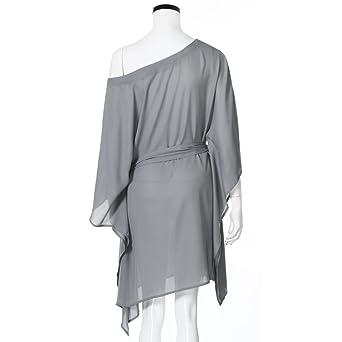 Chiffon Mini Dress + Belt, Clearance! AgrinTol Women Casual Strapless Irregular Ultra Batwing Sleeve Mini Dress + Belt at Amazon Womens Clothing store: