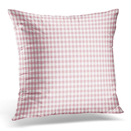 VANMI Throw Pillow Cover Colorful Abstract Pink Gingham Pattern White Check Checkered Decorative Pillow Case Home Decor Square 16x16 Inches Pillowcase (Coral Colored Napkins Paper)