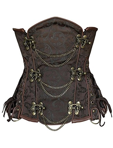 [Camellias Women's Steel Boned Ria Brocade Steampunk Corset Wiast Training Cincher, SZ2083-Brown-S] (Make Your Own Halloween Costume With Clothes)