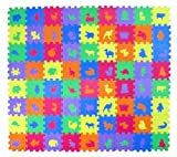 Animal Zoo Educational Foam Puzzle Floor Mat for Kids + 72 Pieces, 6''x6'' Squares Blocks, Covers 12 sq ft