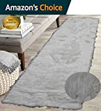 Cheap Furry Fluffy Fuzzy Soft Solid Faux Fur Sheepskin Lambskin Sheep Hide Animal Skin Floor Hallway Long Runner Rug Long Runner Carpet Area Rug Indoor White 2×7 ( Fur Shaggy White )