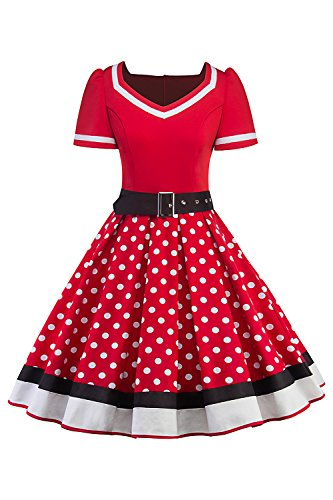 Robe Vintage 1950s Mariage Pois Swing anne Cocktail Soire Pin MisShow Chic Ceinture up de Rockabilly Rouge dWqYR8S