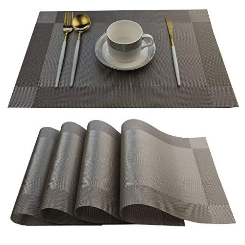 Bright Dream Placemats Easy to Clean Plastic Placemat Washable for Kitchen Table Heat-resistand Woven Vinyl Table Mats 12x18 inches Set of 4 (Grey