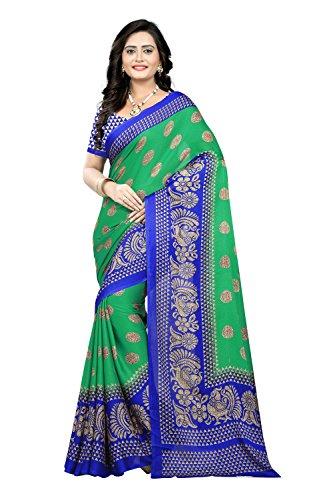 Jaanvi fashion Women's Peackock Printed Crepe Silk Kalamkari Printed Saree (designer-saree-2018-green) (Crepe Silk Saree)