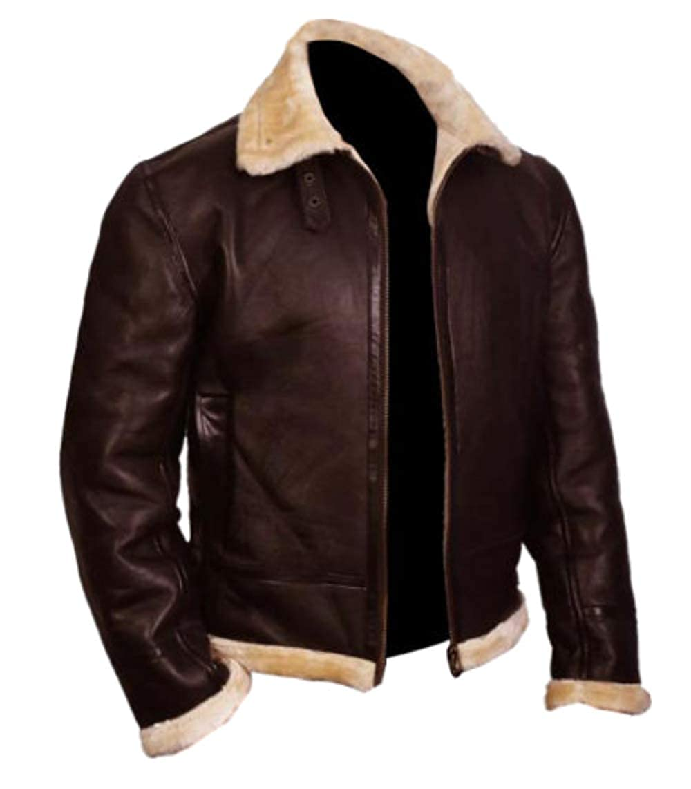 d1cdf4f58 Men's Cropped Short Body Shearling Bomber Biker Brown Leather Jacket ...