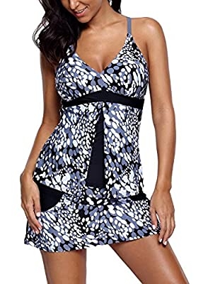 Lovezesent Women Two Piece Print Tankini Top with Swim Skirt Swimsuit Set