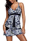 Happy Sailed Women Racerback Printed Tankini Top Skirted Bottom Two Pieces Swimsuits,X-Large Black