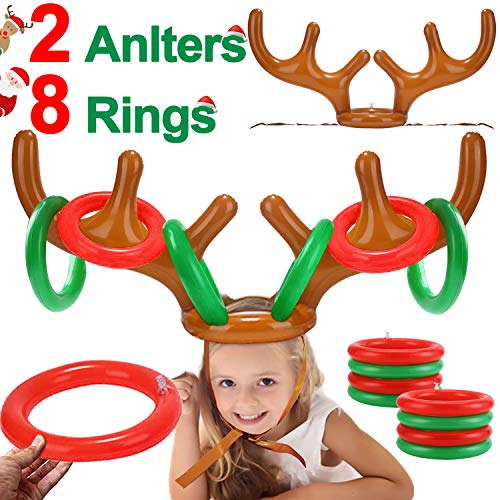 iGeeKid 2 Pack Inflatable Reindeer Antler Ring Toss Game Christmas Party Game Headband Inflatable Toys for Xmas Holiday Party Supplies Carnival Game(8 Rings, 2 Antlers) (Best Christmas Family Party Games)