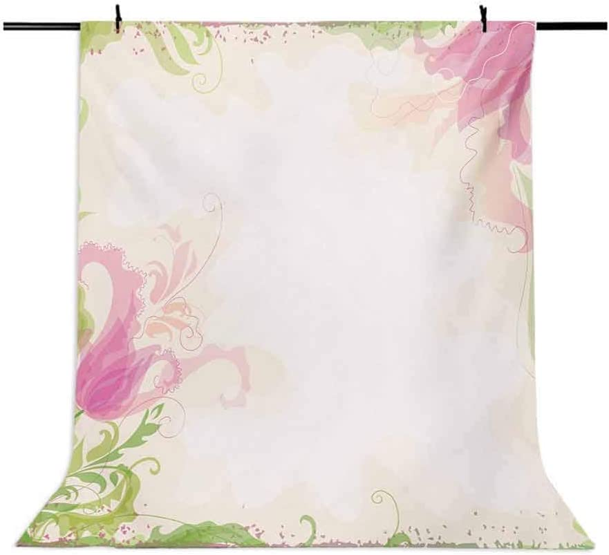 Pink and White 6.5x10 FT Photo Backdrops,Pastel Colored Springtime Frame with Hand Drawn Tulip and Green Leaves Background for Baby Shower Birthday Wedding Bridal Shower Party Decoration Photo Studio