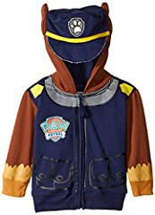 Paw patrol chase toddler boys costume hoodie with police cap and ears