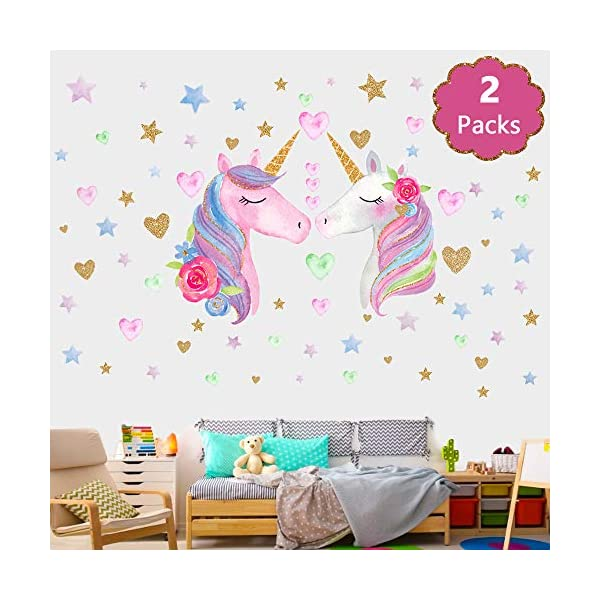 SONG'S IDEA Large Size Unicorn Wall Decal,2Packs,Unicorn Wall Sticker Decor with Hearts and Stars for Girls Rooms Baby… 3