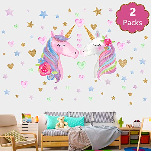 SONG'S IDEA Large Size Unicorn Wall Decal,2Packs,Unicorn Wall Sticker Decor with Hearts and Stars for Girls Rooms Baby Nursery