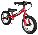 BIKESTAR® Original Safety Lightweight Kids First Balance Running Bike with brakes and with air tires for age 3 year old boys and girls | 12 Inch Sport Edition | Heartbeat Red