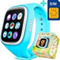 GBD Children Smart Watch Phone for Kids with GPS Tracker Fitness SIM Card Pedometer Anti-lost SOS Finder Touch Screen Smartwatch Wristband Bracelet for Smartphone