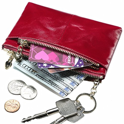 Itslife Triple Zipper Leather Mini Coin Purse Card Holder with Key Chain(red) (Make Change Purse)
