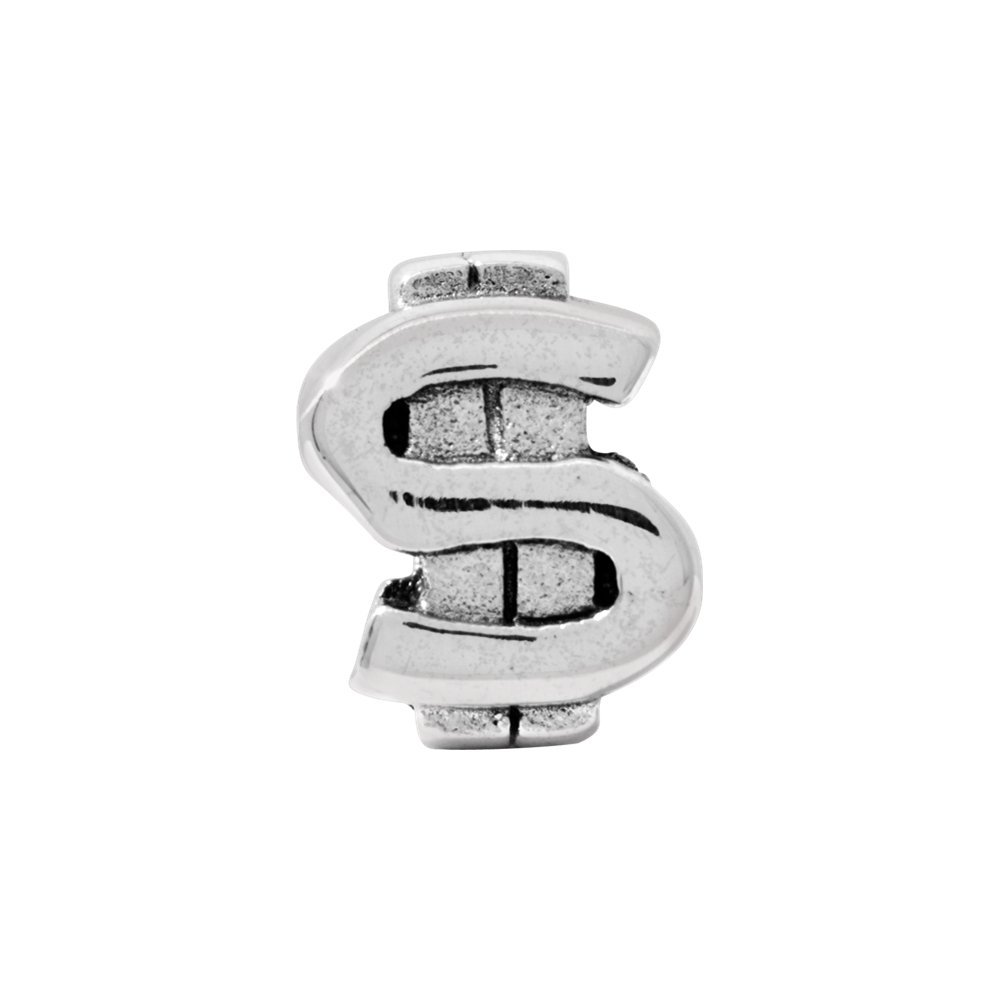 Sterling Silver Reflections Dollar Sign Bead Solid 7.27 mm 9.09 mm Themed Beads Jewelry