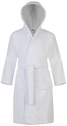 Adore Home Kids 100 Cotton Bathrobe Hooded White Terry Towelling