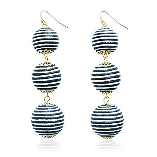 - Thread Wire Dangling Ball Earrings Black and White Bohemian Beach Ball Tassel Earrings for Women