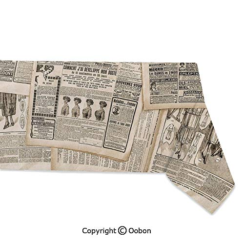 - oobon Space Decorations Tablecloth, Nostalgic Aged Pages with Antique Advertising Fashion Magazines Print Decorative, Rectangular Table Cover for Dining Room Kitchen, W60xL104 inch