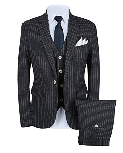 Mens Pinstripe Suit 3 Piece Slim Fit Casual Dress Suits Blazer+Vest+Pants US Size 37 (Label 3XL) Black (Black Label Dress Pants)