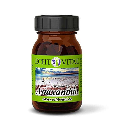 ECHT VITAL Astaxanthin | Natürliches Extrakt aus der Grünalge Haematococcus pluvialis | hergestellt in Israel | hochdosiert - 4mg je Softgelkapsel | 1 Glas mit 120 Kapseln