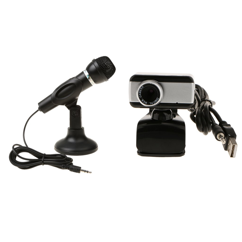 Dovewill 3.5mm Studio Microphone Mic w/ Stand + USB Camera for Skype Desktop