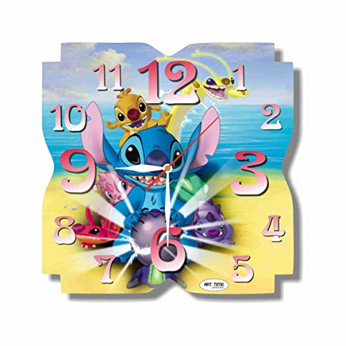 Art time production Lilo & Stitch 11.8'' Handmade unique Wall Clock - Get unique décor for home or office – Best gift ideas for kids, friends, -