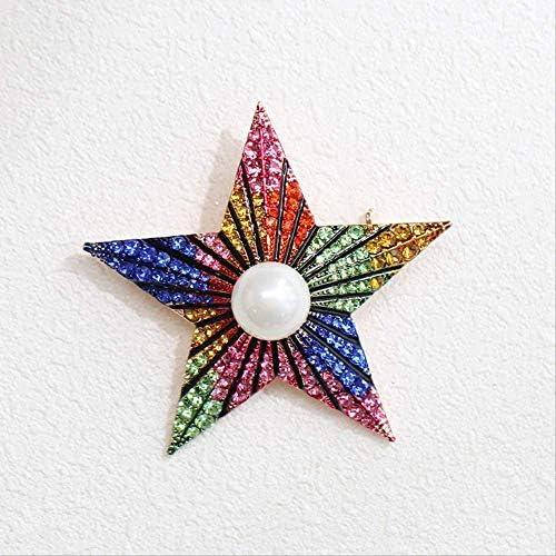 YKJ-YKJ ヨーロッパとアメリカの誇張された人格の三次元五芒星のブローチ、カラージルコン象嵌、美しく形、5.6 * 5.6センチメートル ブローチ