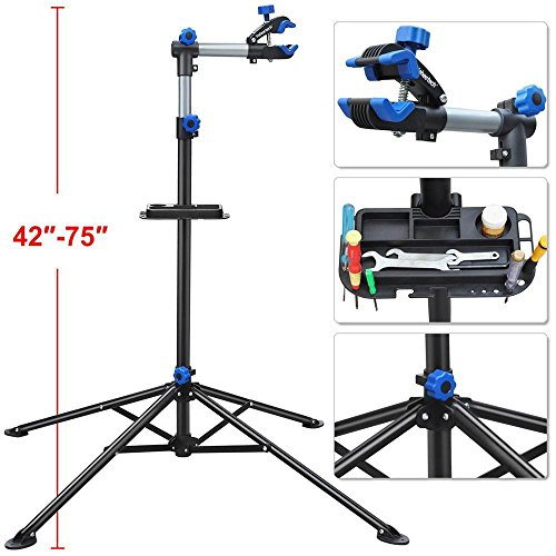 "Yaheetech Adjustable 52"" to 75"" Pro Bike Repair Stand w/ Telescopic Arm & Balancing Pole Cycle Bicycle Rack"
