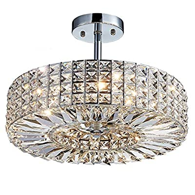 "Saint Mossi Modern Crystal Semi Flush Mount Chandelier Lighting Close to Ceiling Lights Clear Crystal Lampshade 16"" inch Width,10"" inch Height"