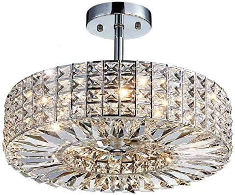 Saint Mossi Modern Crystal Semi Flush Mount Chandelier Lighting Close to Ceiling Lights Clear Crystal Lampshade 16 inch Width,10 inch Height