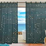 Cheap ZOEO 2 Piece 12 Constellation Universe Galaxy Space Stars Fabric Sheer Voile Window Door Curtains Drape Panels Treatment for Bedroom 55″ W X 78″ L