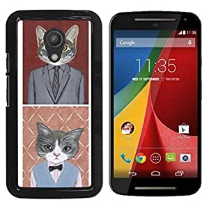 Paccase / SLIM PC / Aliminium Casa Carcasa Funda Case Cover para - Business Cat Funny Cute Pop Art Suit - Motorola MOTO G 2ND GEN II