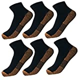 6 Pairs Copper Antibacterial Athletic Ankle Sport Socks For Men and Women (L/XL, BLACK)