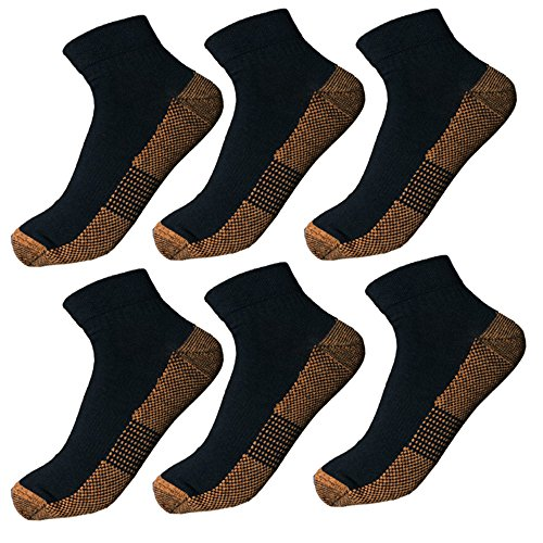 6 Pairs Copper Antibacterial Athletic Ankle Sport Socks For Men and Women – DiZiSports Store