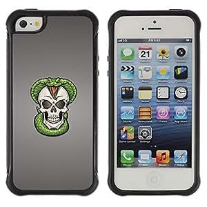 CAZZ Funda Carcasa Bumper con Absorción de Impactos y Anti-Arañazos Espalda Slim Rugged Armor // Cobra Skull Snake Skeleton // Apple Iphone 5 / 5S