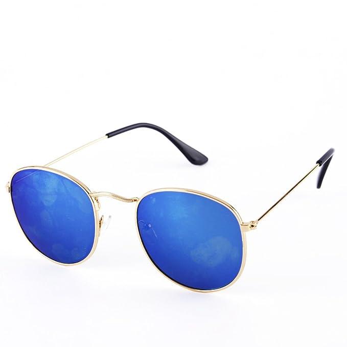 ZHUGE Gafas de sol redondas de moda retro con protección ...