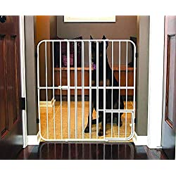 Gate for Dog, Cats - Pet Products Extra Tall Big Tuffy Expandable Gate with Pet Door - Dog Doors - Cat Doors, Gates & Ramps