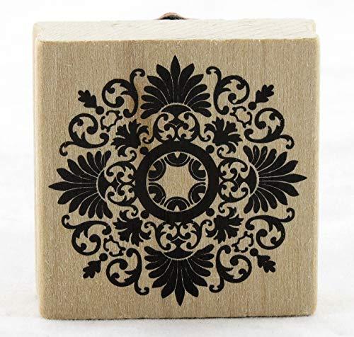 ShopForAllYou Stamping & Embossing Medallion Flourish Wood Mounted Rubber Stamp New Art Decor Wreath