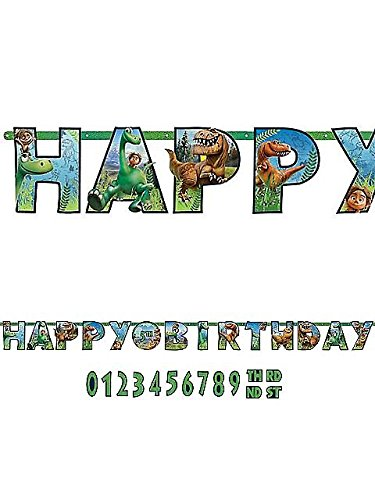 Amscan Disney The Good Dinosaur Jumbo Add-An-Age Letter Banner Printed Paper Birthday Party Decoration (1 Piece), 10 1/2' x 10