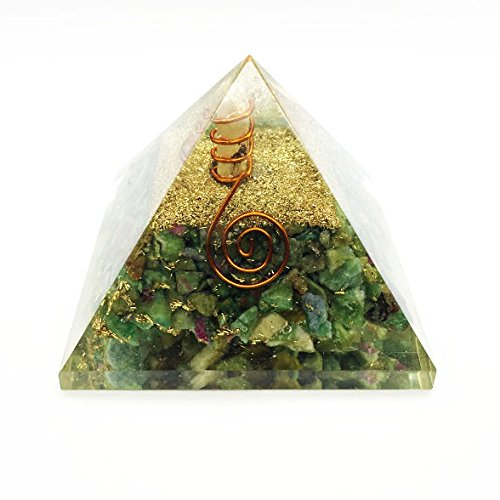 Crocon Ruby Zoisite Orgone Pyramid Gemstone Energy Generator For Reiki Healing Chakra Balancing EMF Protection Aura Cleansing Size:2.5-3 Inch