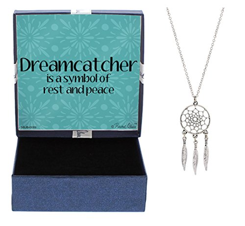 Mother's Day Gifts Dream Catcher Necklace for Women Silver-Tone Dream Catcher Pendant Necklace Jewelry Box Graduation Gift Jewelry Native American Jewelry Dream Catcher Necklace Gift