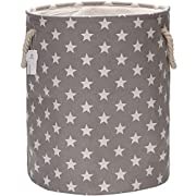 Sea Team 19.7  Large Size Stylish Star Design Canvas & Linen Fabric Laundry Hamper Storage Basket with Rope Handles, Grey