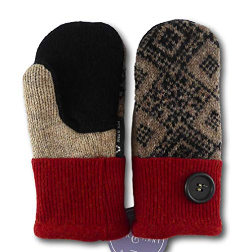 (Jack & Mary Designs Handmade Kids Fleece-Lined Wool Mittens, Made from Recycled Sweaters in the USA (red/black/tan, Large))