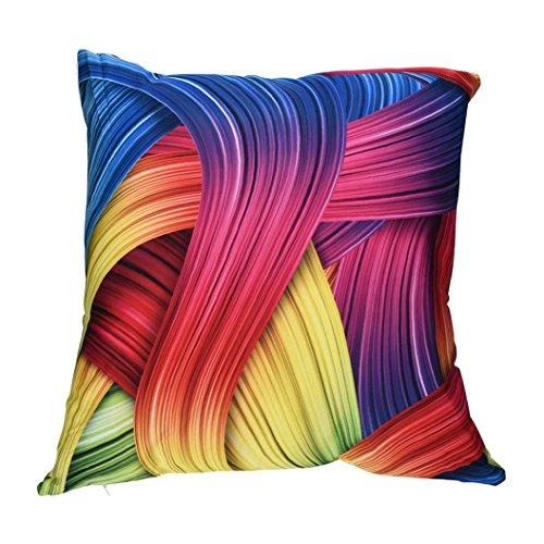 Apparel Accents (Leyorie Multicolor 3D Print Pillow Cases Polyester Sofa Car Cushion Cover Home Decor (D))