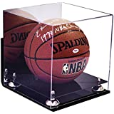 Deluxe Acrylic Basketball Display Case with Gold Risers Mirror and Wall Mount (A001-WMGR)